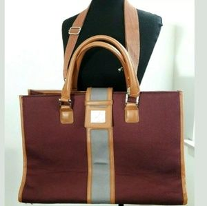 DVF STUDIO Burgundy/Tan XL Tote Handbag